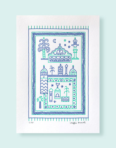 "Affiche letterpress ""Tapislam"", imprimée en 2 couleurs, illustration Steffie Brocoli - Édition LETTERPRESS DE PARIS"