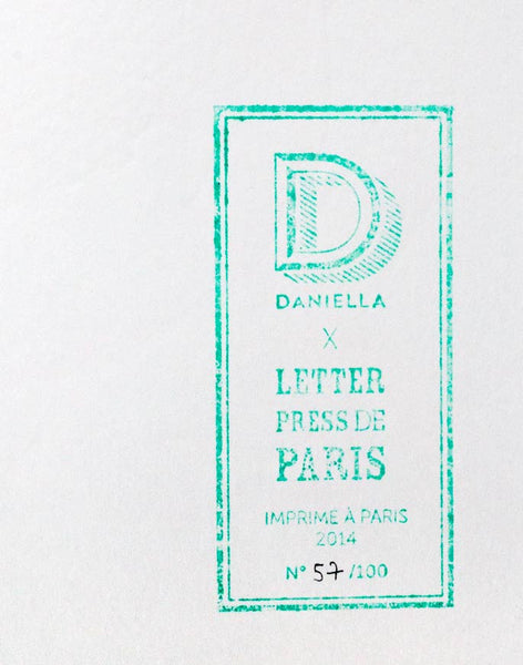 "Détail - Affiche letterpress ""Bal"", illustration Daniella - Édition LETTERPRESS DE PARIS"