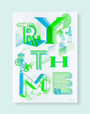 "Affiche letterpress ""Rythme"", illustration Daniella - Édition LETTERPRESS DE PARIS"
