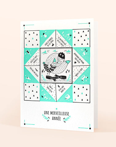 Carte de voeux letterpress - Edition letterpress de Paris - Illustration Tina Tictone