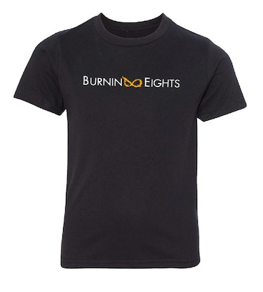 youth burnin eights t-shirt, full logo, black