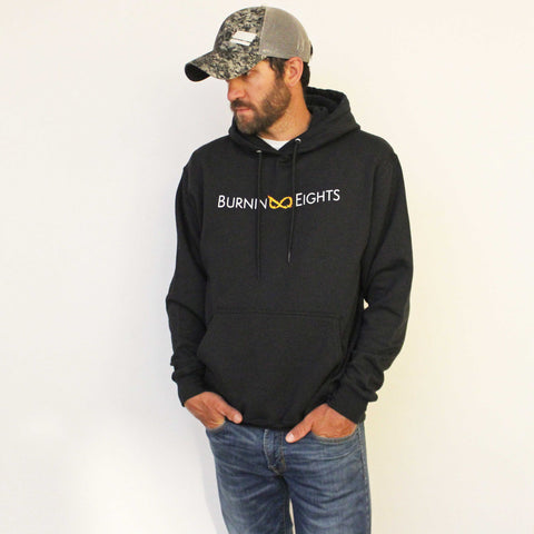 men's burnin eights hoodie, full logo, black