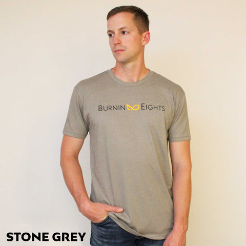 burnin eights mens t-shirt full logo stone grey