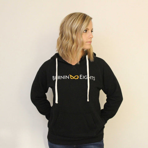 burnin eights women's full logo hoodie, black