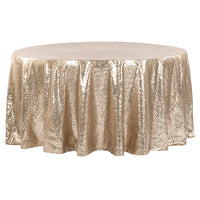 "120"" Round Champagne Gold Sequin Tablecloth"