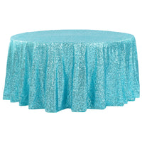 "132""  Round Turquoise  Sequin Tablecloth Glitz Sequin"