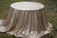 "90x132"" Champagne Gold Sequin Tablecloth"