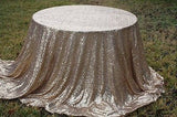 "132"" Round Champagne Gold Sequin Tablecloth"