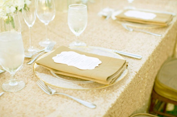 Light Gold Sequin Tablecloth 90x132 inch Rectangle
