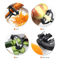 Rotary Kitchen Peeler 360 Degree Multi-functional Rotary Kitchen Tool Vegetable Fruit Potato Carrot Peeler Grater Turnip Cutter Slicer Melon Gadget