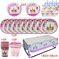 Unicorn Party Decor Kit Birthday Party Disposable Tableware Kit Unicorn Balloon Cups Plates Napkin Kids Birthday Party Supplies