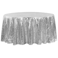 "120"" Round Silver Sequin Tablecloth Glitz Sequin"