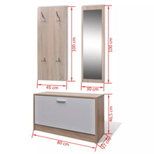 Load image into Gallery viewer, 3-In-1 Wooden Shoe Cabinet Set - Shoe Cabinet Mirror Coat Rack