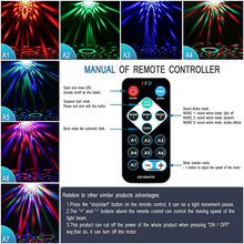 Load image into Gallery viewer, Sound Activated Rotating Disco Ball Party Lights