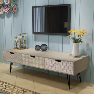 TV Cabinet With 3 Drawers - 120x40x36 Cm Grey