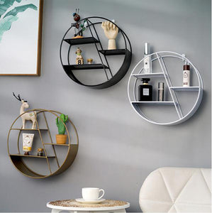 Metal Decorative Shelf round Hexagon storage holder rack Shelves Home wall Decoration Potted ornament holder rack