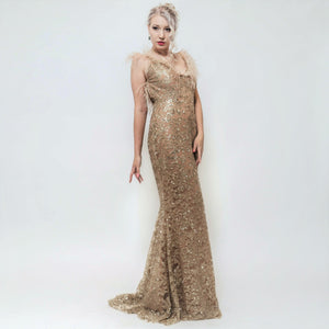 Haute Couture, nude gold Abendkleid