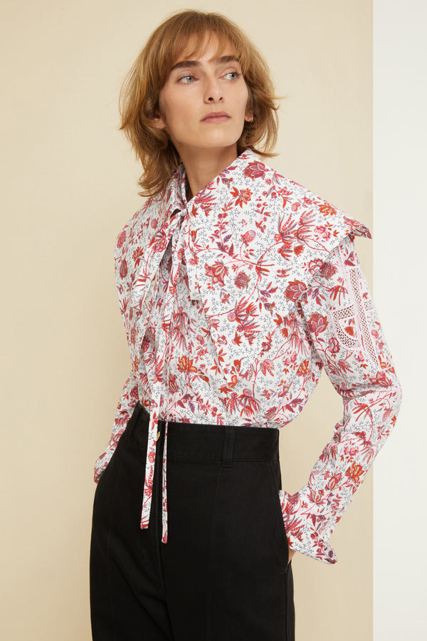 Patou - Printed collar in organic poplin