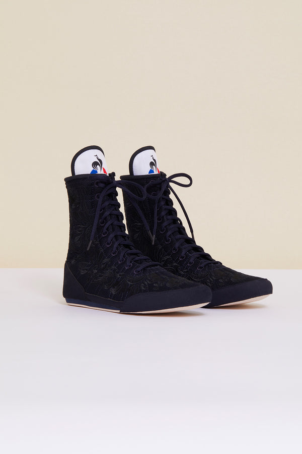 Image 1 of 8 - Embroidered high-top trainers - Navy