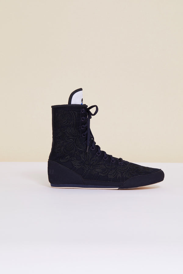 Image 5 of 8 - Embroidered high-top trainers - Navy