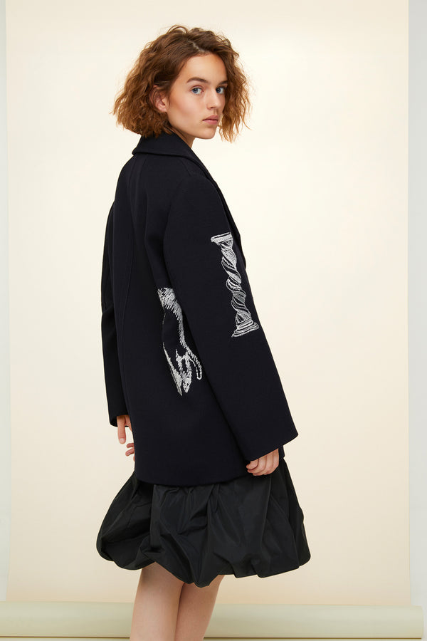 Oversized embroidered virgin wool peacoat