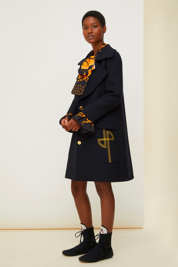 Image 2 of 6 - Longline virgin wool coat with embroidered logo
