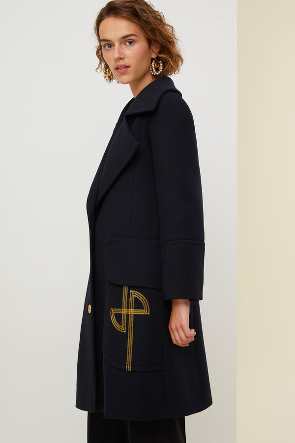 Image 3 of 6 - Longline virgin wool coat with embroidered logo