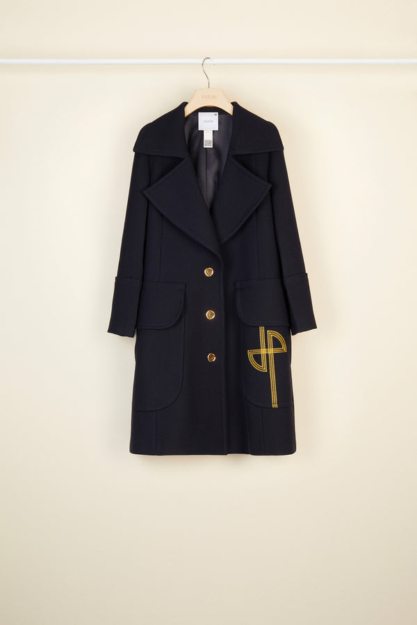 Image 4 of 6 - Longline virgin wool coat with embroidered logo