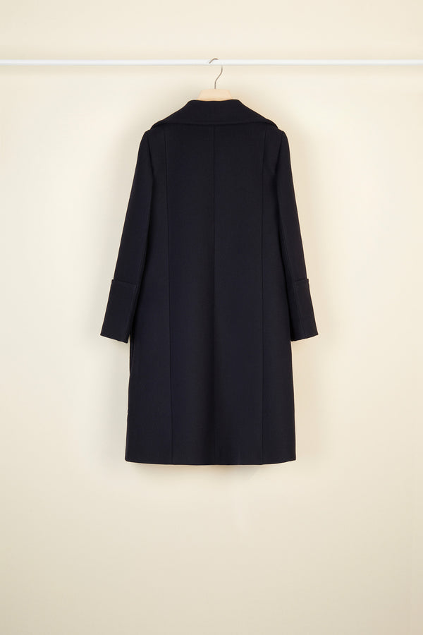 Image 5 of 6 - Longline virgin wool coat with embroidered logo
