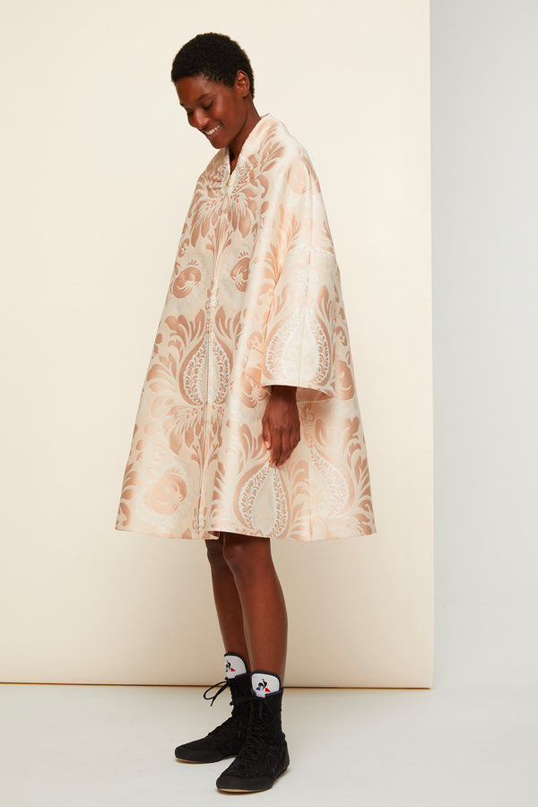 Image 1 of 5 - Oversized floral silk brocade coat