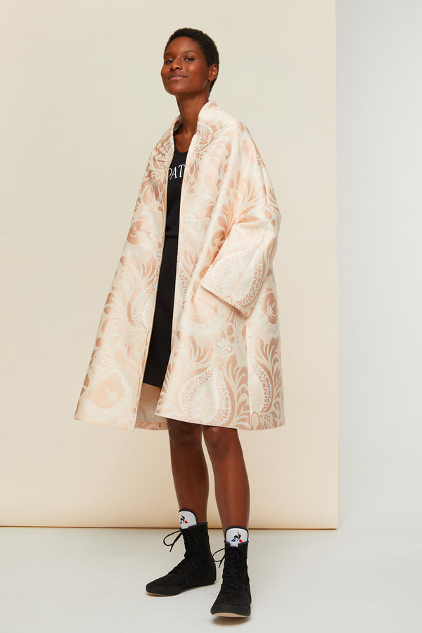 Image 2 of 5 - Oversized floral silk brocade coat