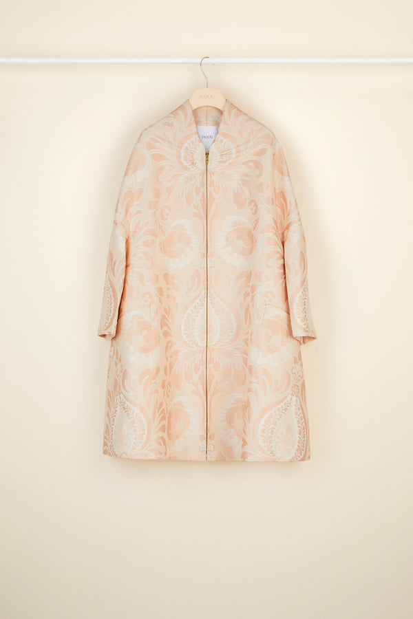 Image 3 of 5 - Oversized floral silk brocade coat