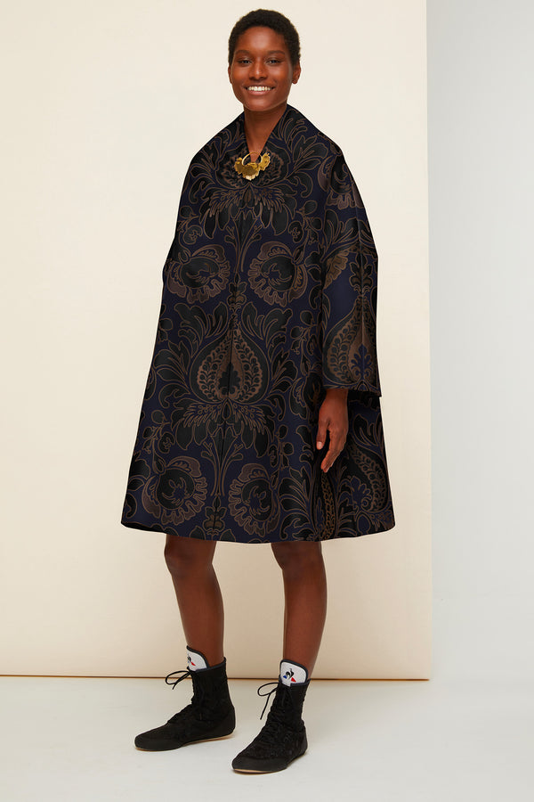 Image 1 of 4 - Oversized floral silk brocade coat