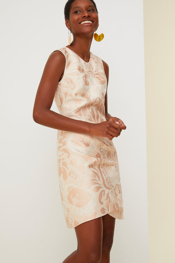 Cut-out floral brocade dress