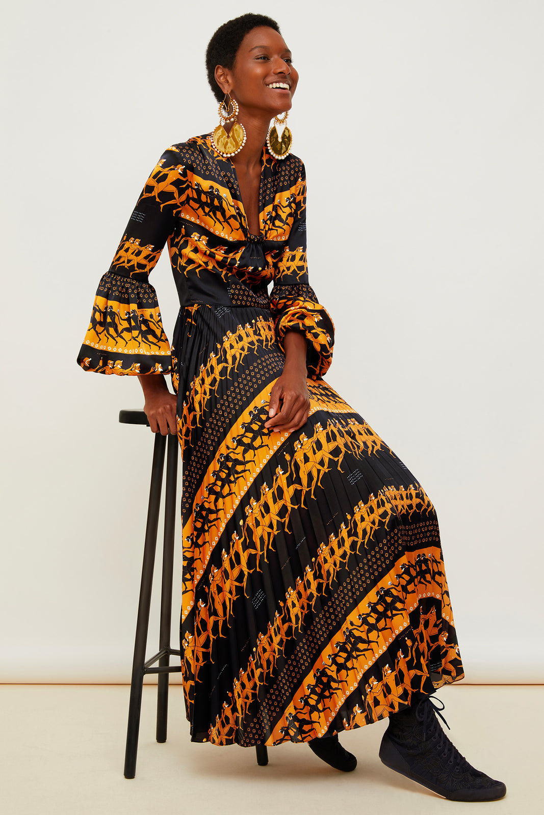 Printed pleated maxi dress