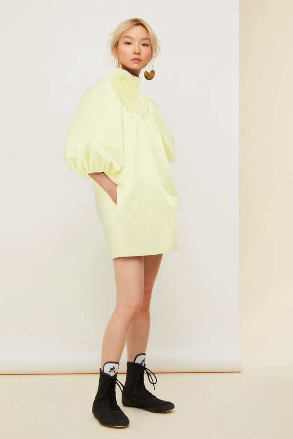 Smock collar satin mini dress