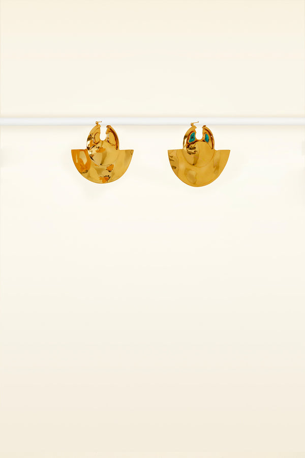 Malachine and brass earrings