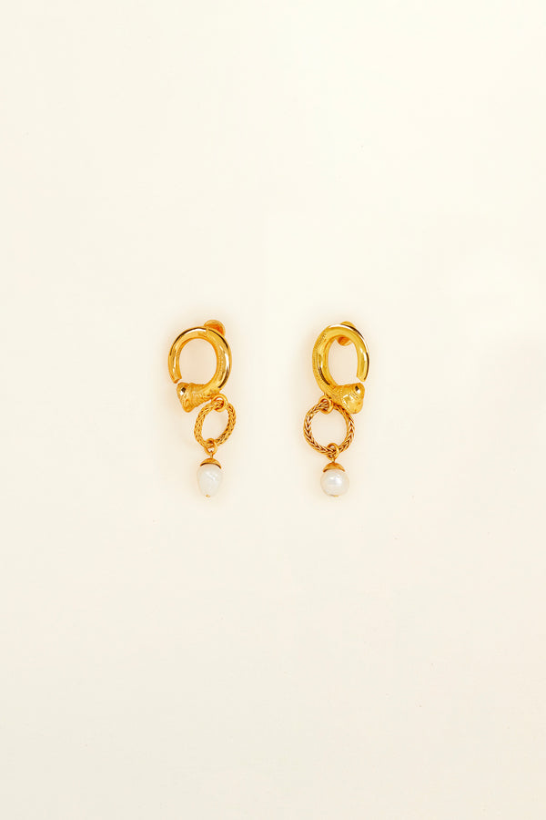 Image 2 of 4 - Small brass and pearl hoop earrings