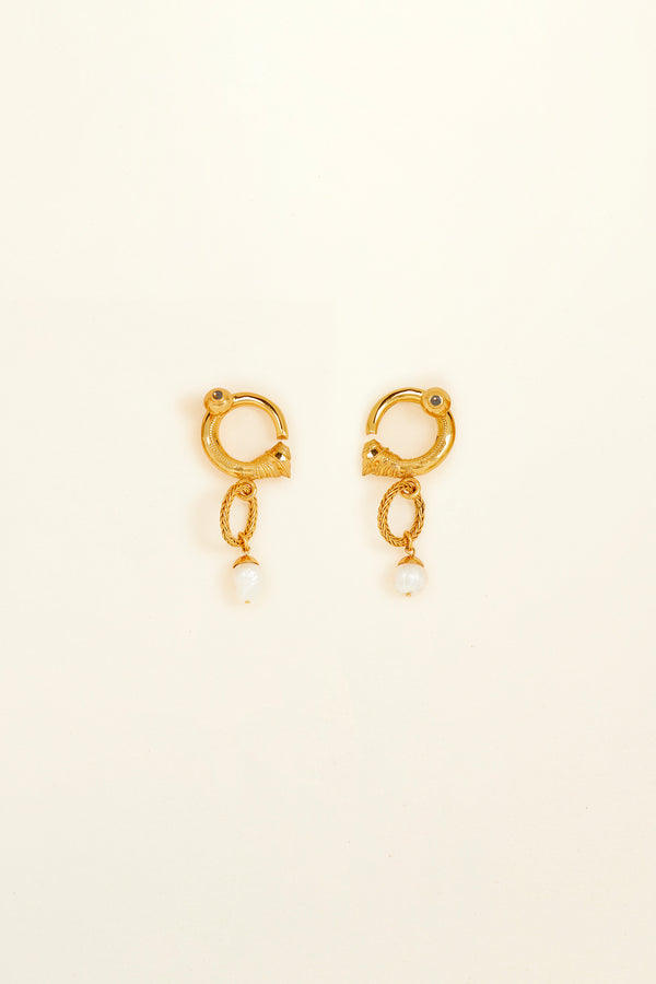 Image 3 of 4 - Small brass and pearl hoop earrings