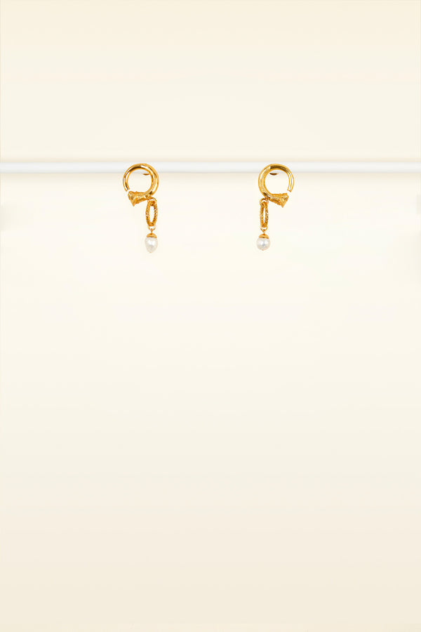 Small brass and pearl hoop earrings