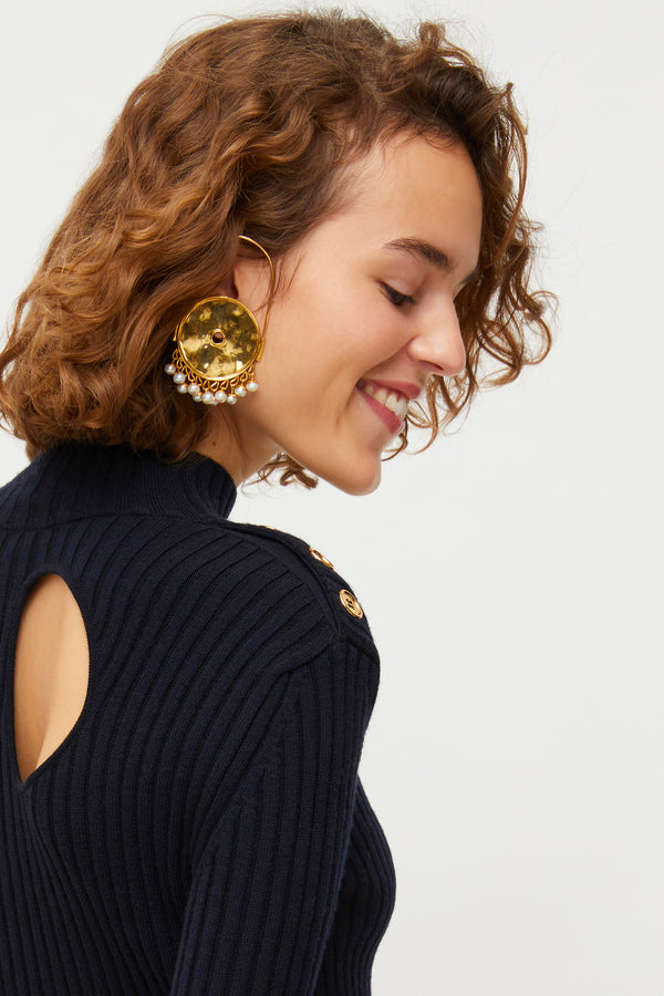 Image 1 of 3 - Circular brass and pearl earrings