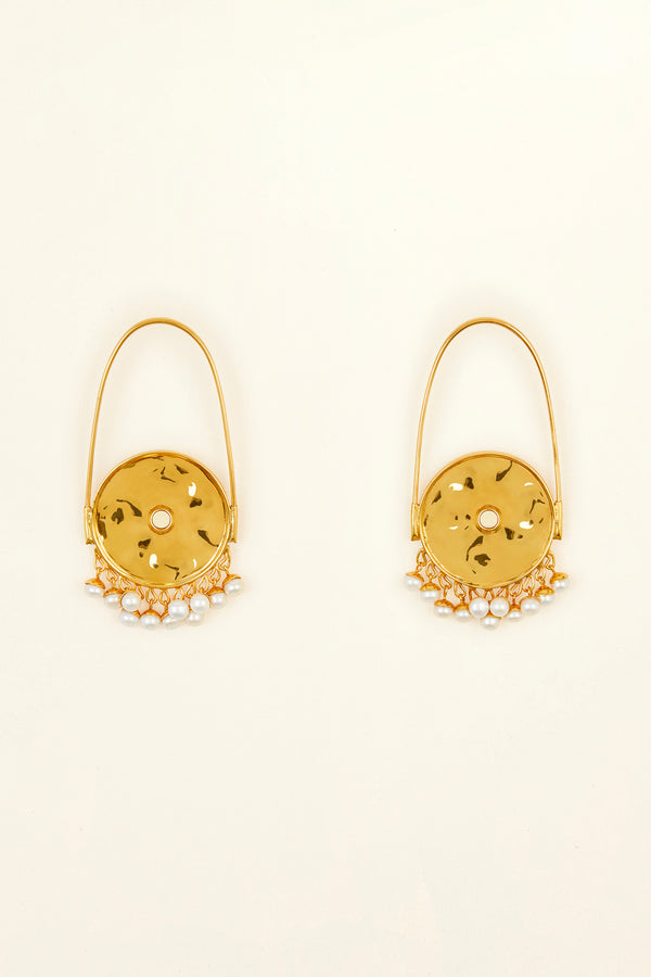 Image 2 of 3 - Circular brass and pearl earrings
