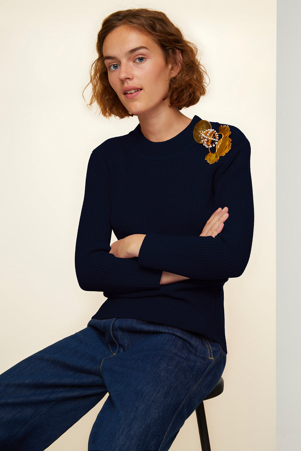 Image 1 of 4 - Merino wool jumper with brass and pearl brooches