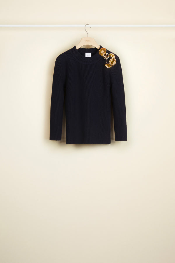 Image 2 of 4 - Merino wool jumper with brass and pearl brooches