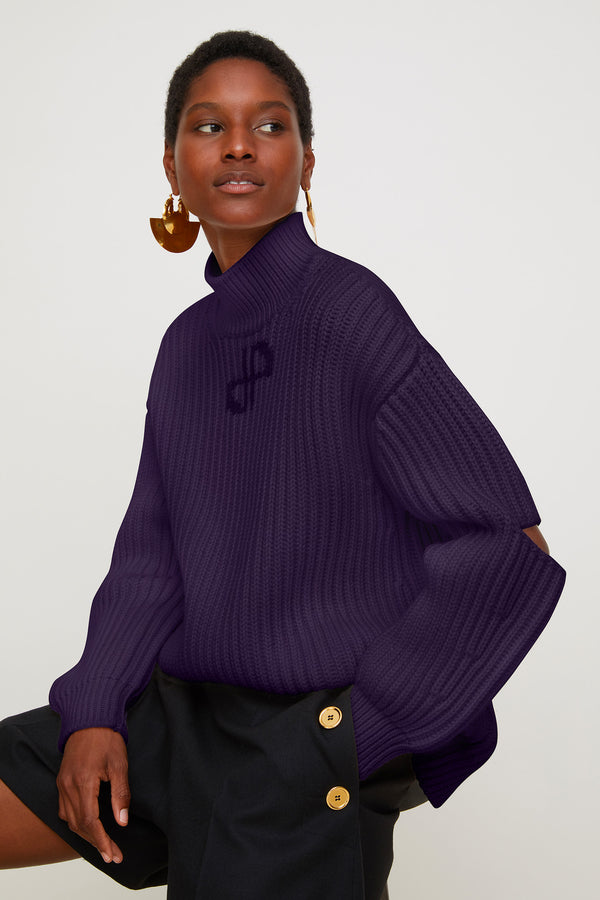 Image 1 of 3 - Cut-out Merino wool jumper