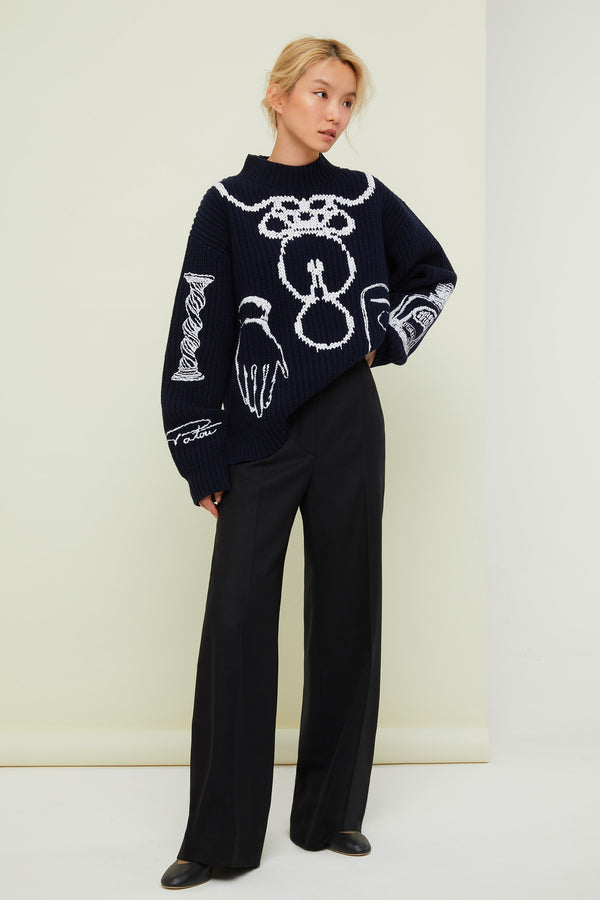 Patou - Embroidered Merino wool oversized jumper - Image 1 of 4