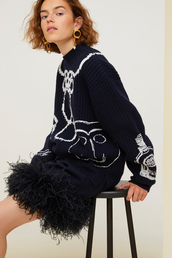 Patou - Embroidered Merino wool oversized jumper - Image 2 of 4