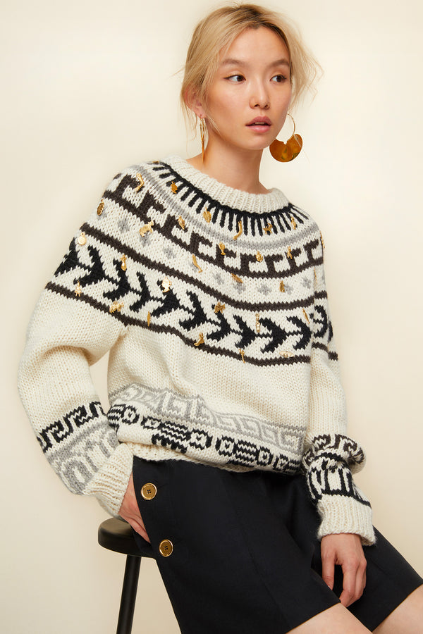 Image 1 of 3 - Jacquard wool and alpaca jumper with votive embellishments
