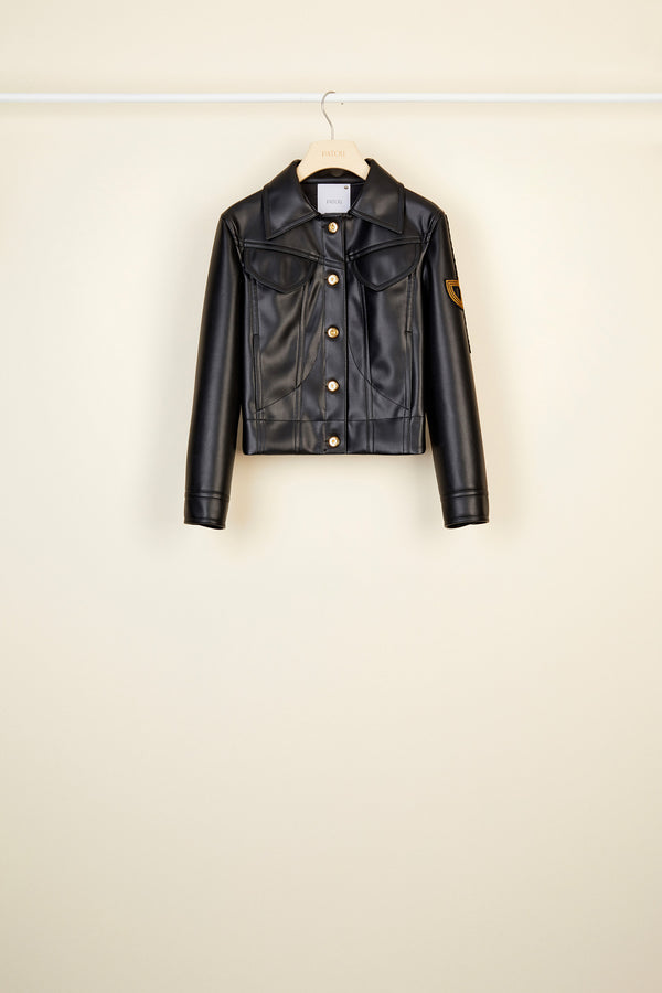 Image 3 of 5 - Embroidered logo faux leather jacket
