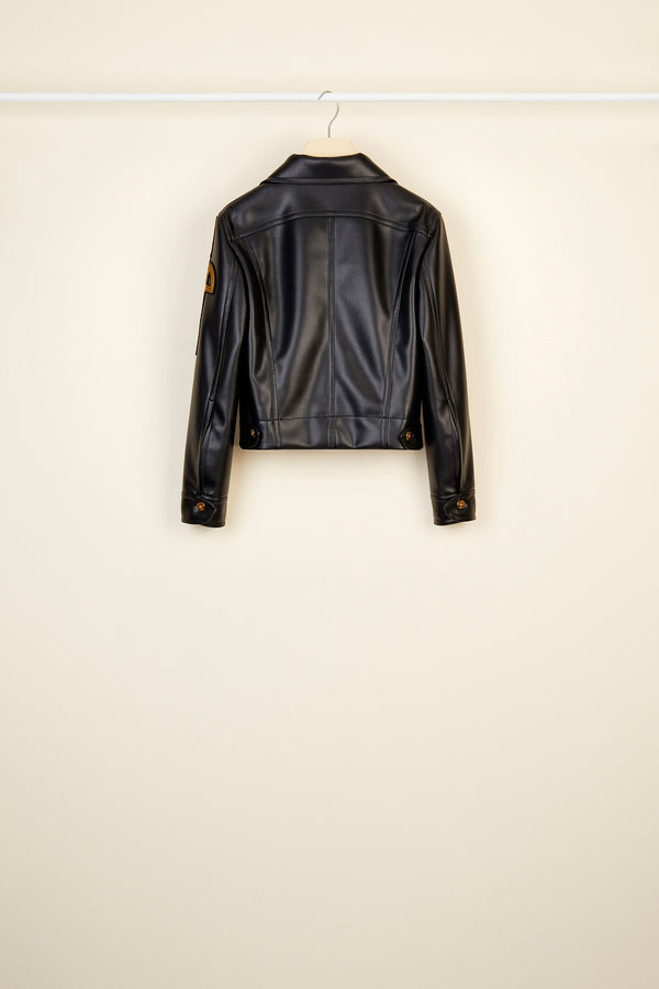 Image 4 of 5 - Embroidered logo faux leather jacket